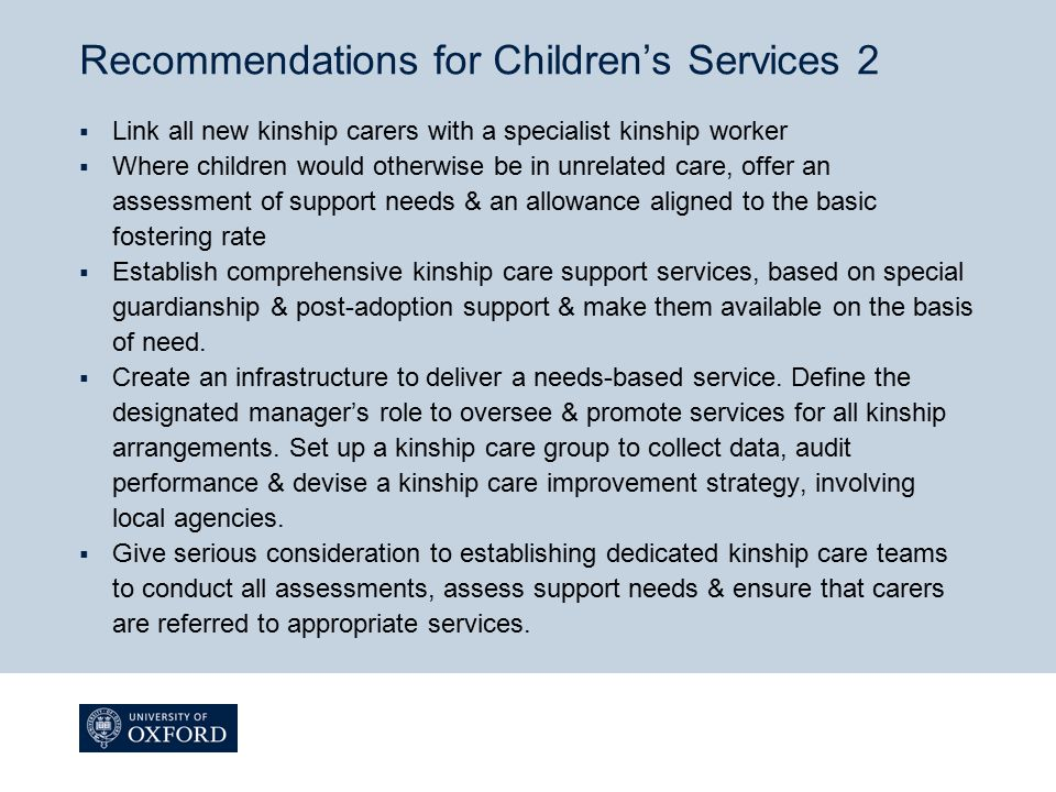 Recommendations for Children's Services 2