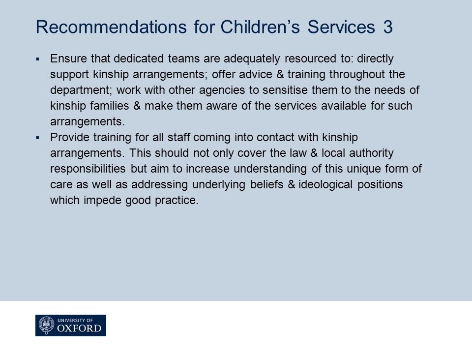 Recommendations for Children's Services 3