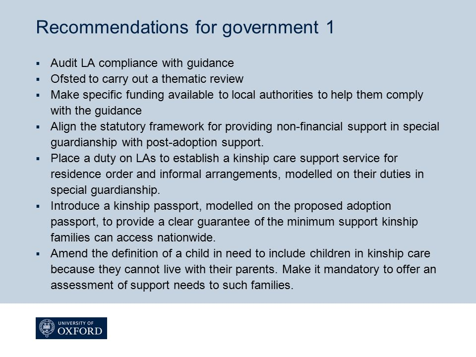Recommendations for government 1