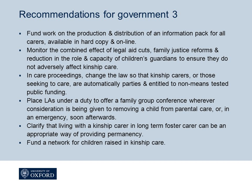 Recommendations for government 3