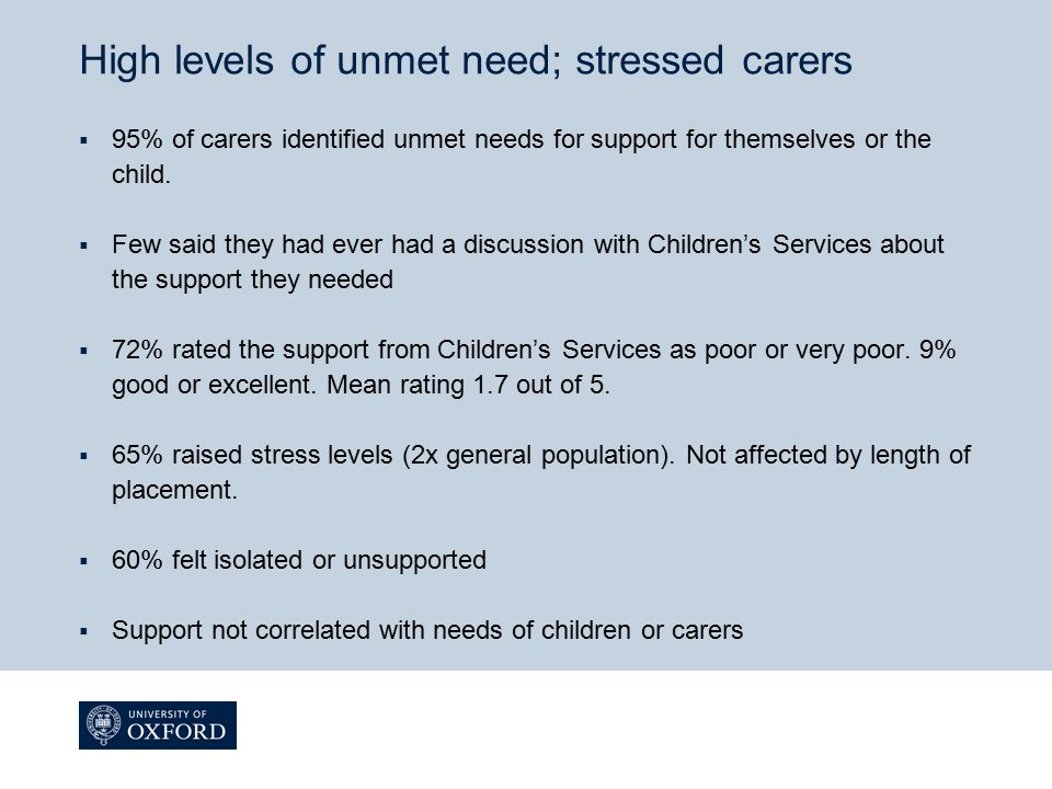 High levels of unmet need; stressed carers
