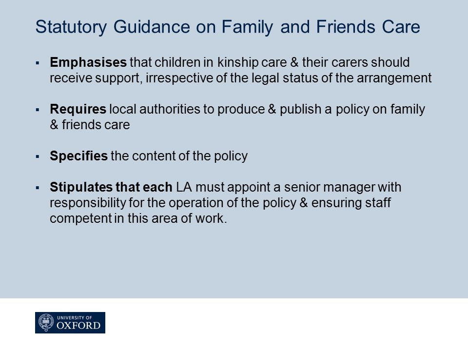 Statutory Guidance on Family and Friends Care