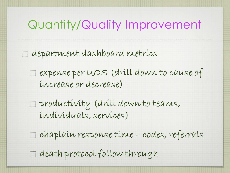 Quantity/Quality Improvement