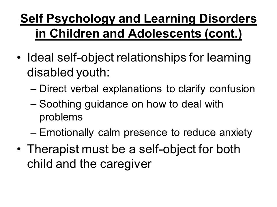 Ideal self-object relationships for learning disabled youth: