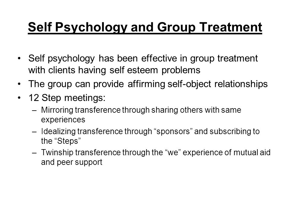 Self Psychology and Group Treatment