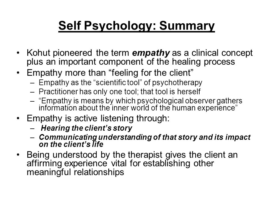 Self Psychology: Summary