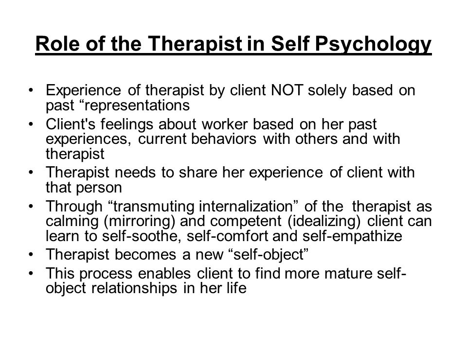 Role of the Therapist in Self Psychology