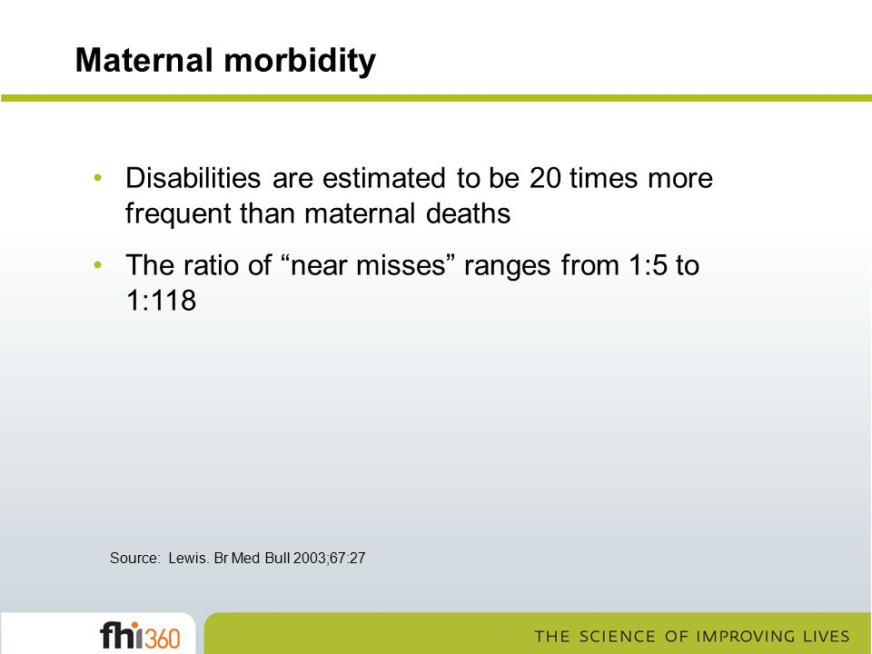Maternal morbidity Disabilities are estimated to be 20 times more frequent than maternal deaths. The ratio of near misses ranges from 1:5 to 1:118.