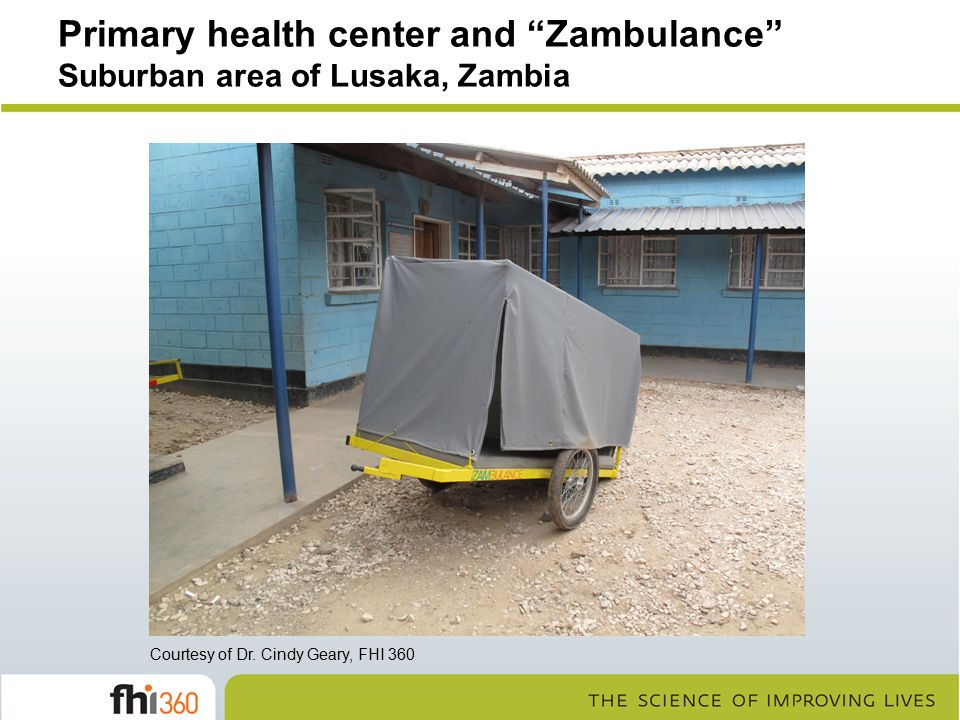 Primary health center and Zambulance Suburban area of Lusaka, Zambia