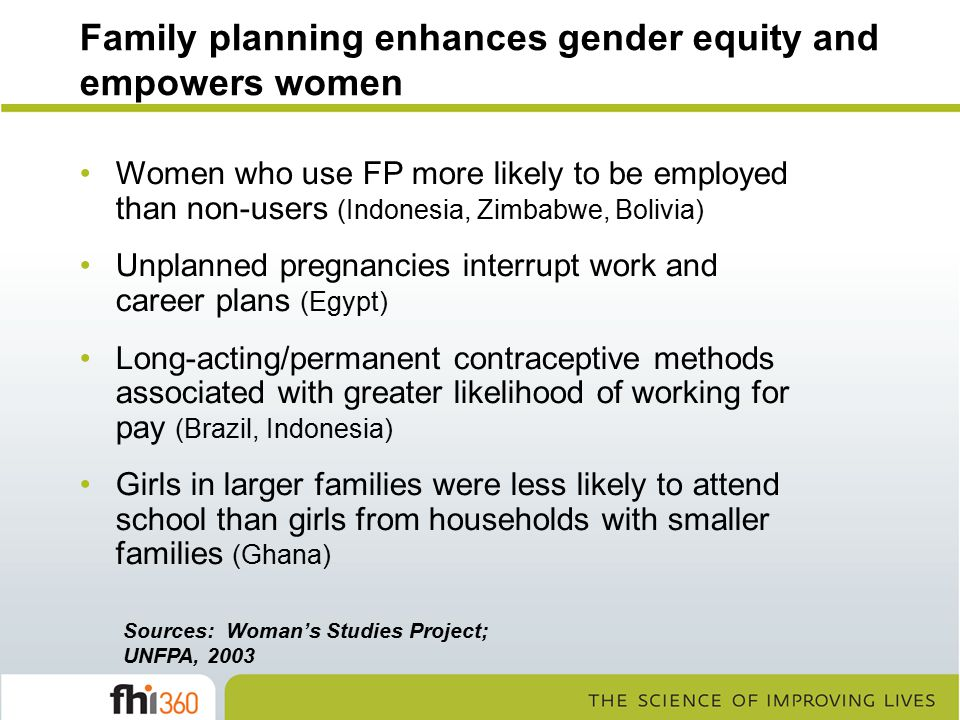 Family planning enhances gender equity and empowers women