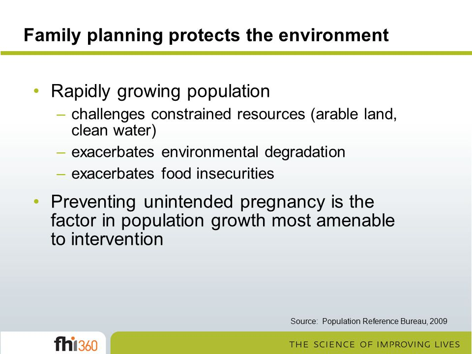 Family planning protects the environment