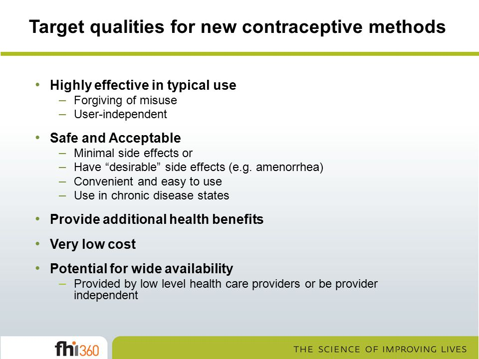 Target qualities for new contraceptive methods