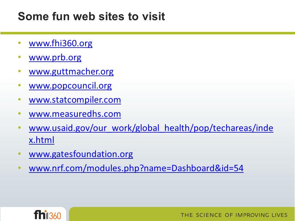Some fun web sites to visit