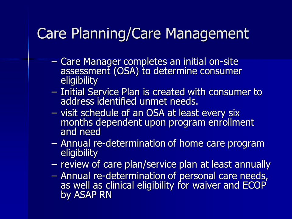 Care Planning/Care Management