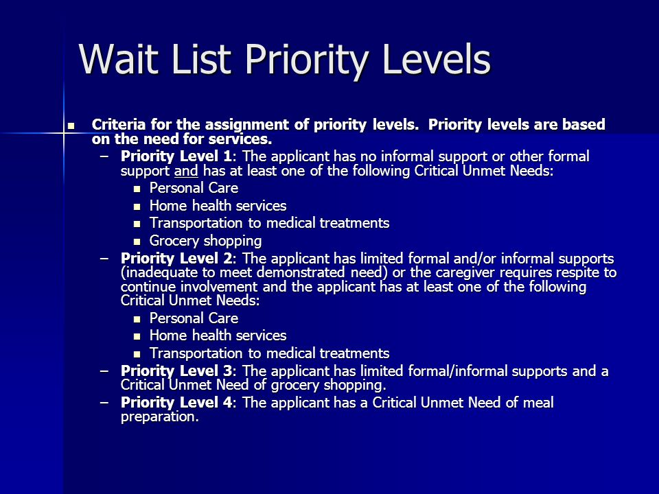 Wait List Priority Levels