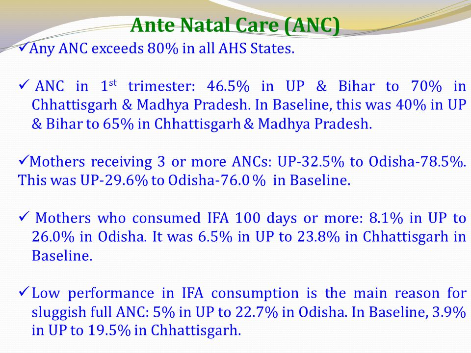 Ante Natal Care (ANC) Any ANC exceeds 80% in all AHS States.