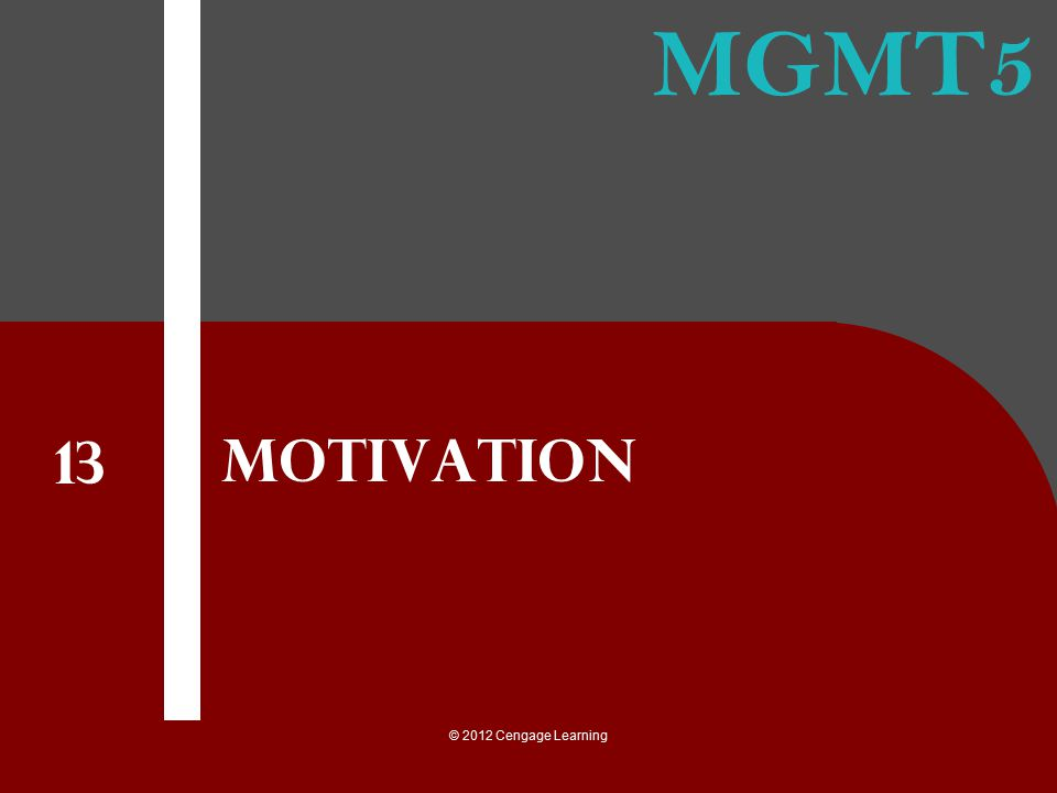 Motivation 13 © 2012 Cengage Learning
