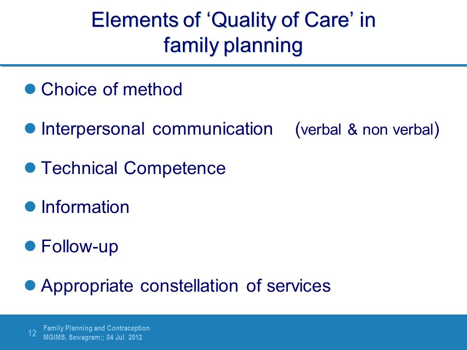 Elements of 'Quality of Care' in family planning