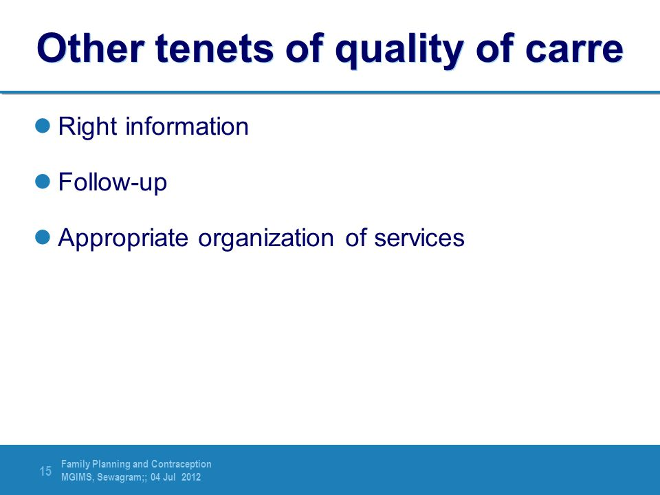 Other tenets of quality of carre