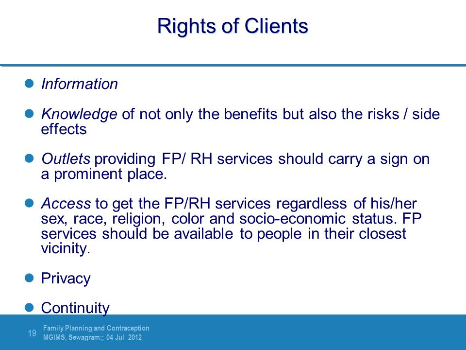 Rights of Clients Information