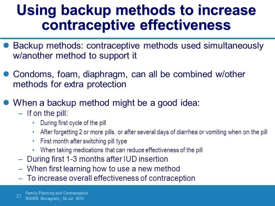 Using backup methods to increase contraceptive effectiveness