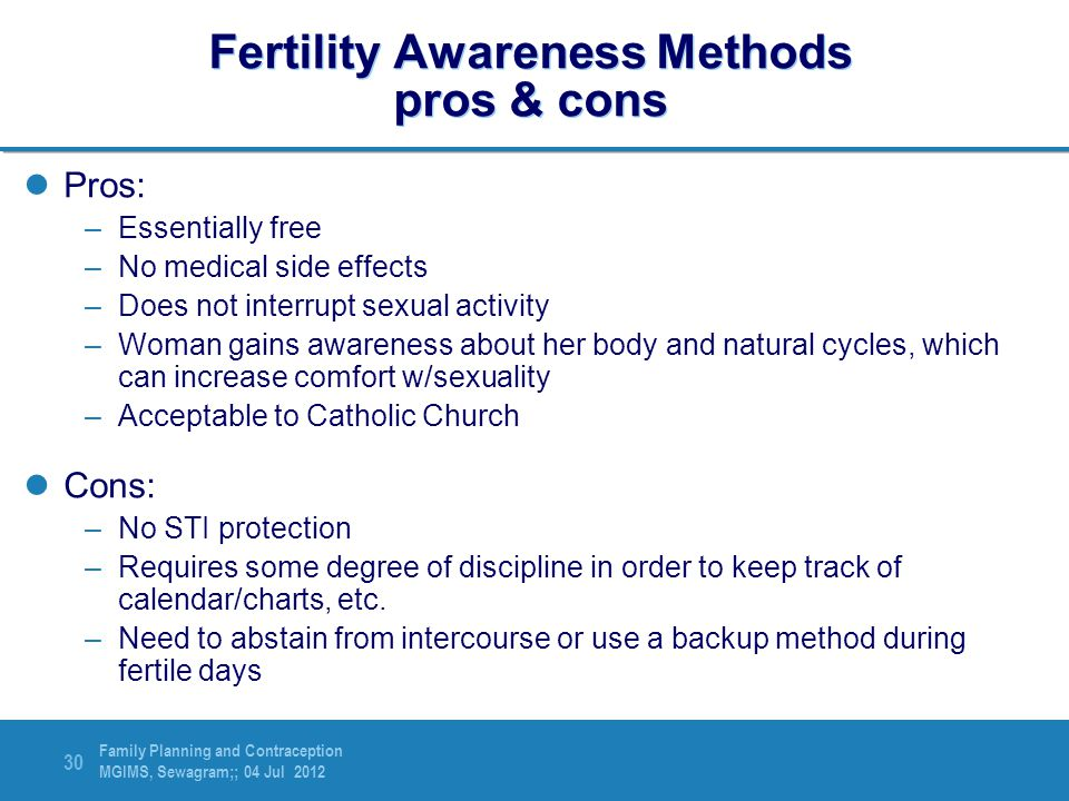 Fertility Awareness Methods pros & cons