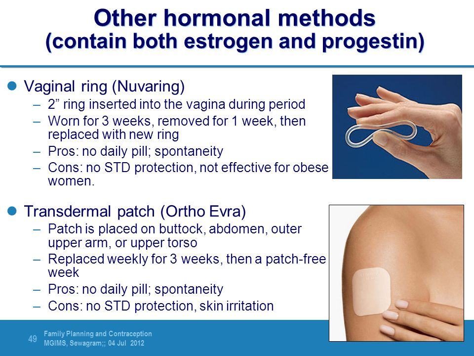 Other hormonal methods (contain both estrogen and progestin)