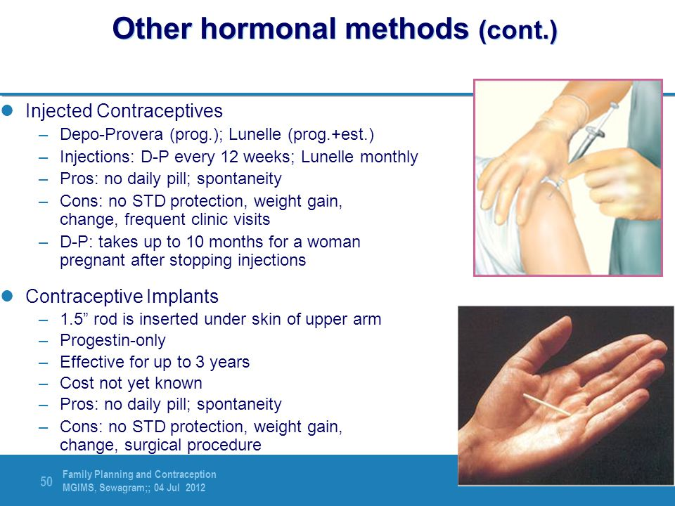Other hormonal methods (cont.)