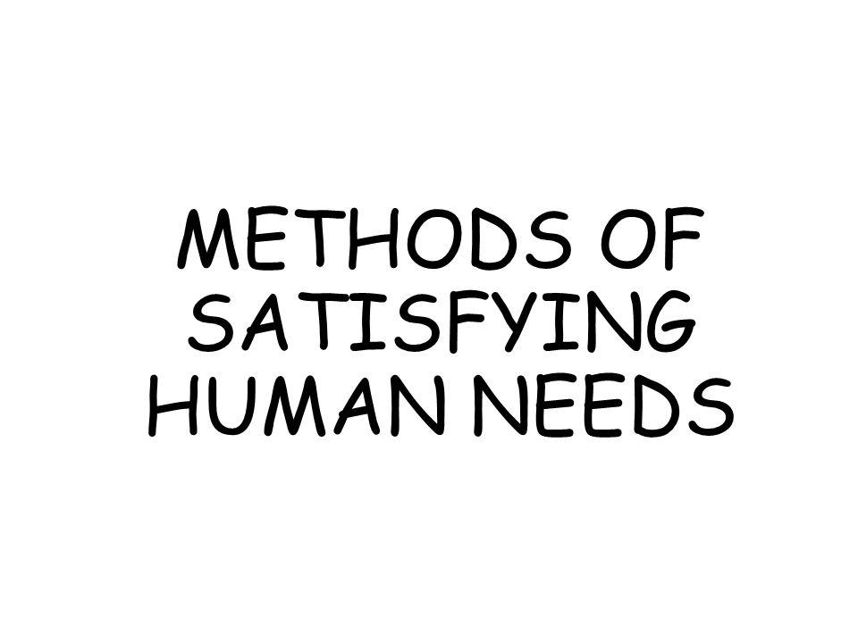 METHODS OF SATISFYING HUMAN NEEDS
