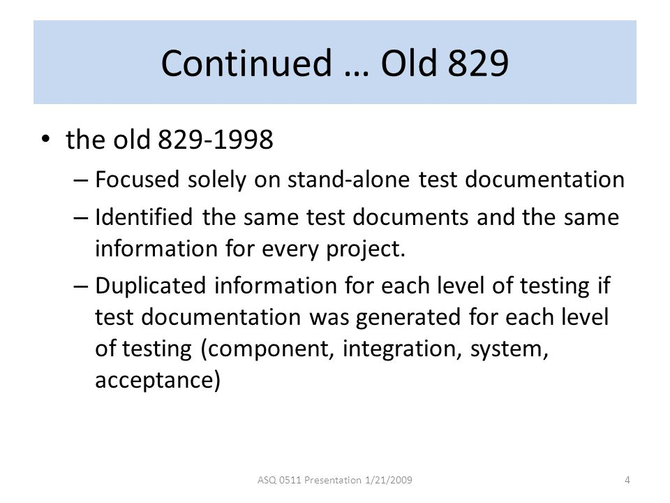 Continued … Old 829 the old 829-1998