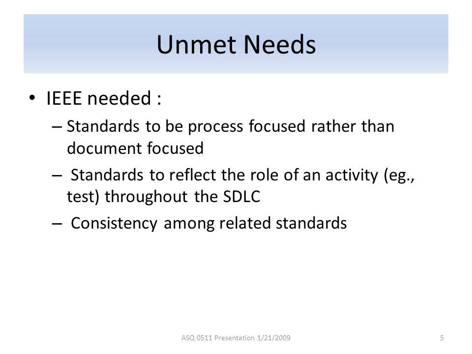 Unmet Needs IEEE needed :