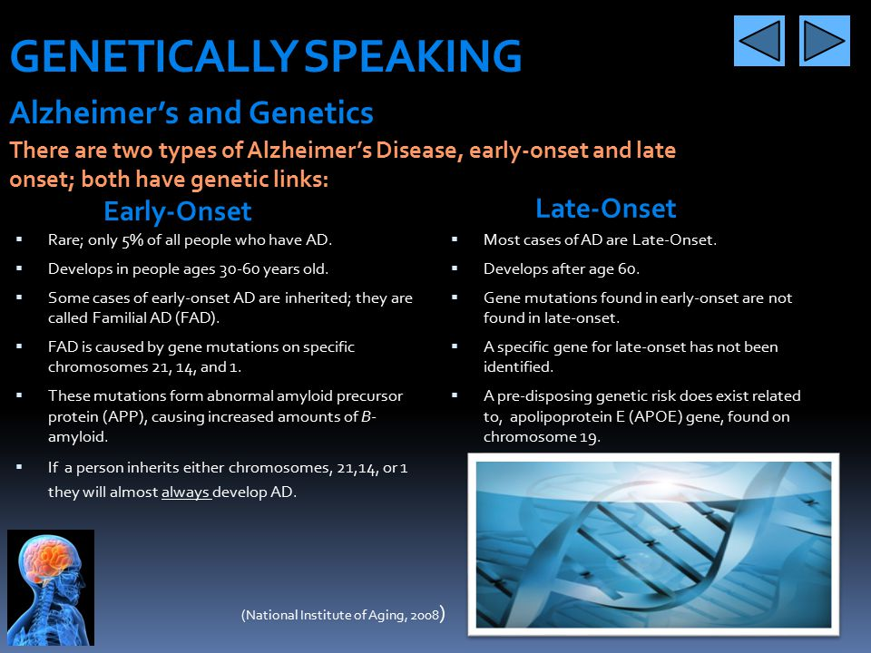 GENETICALLY SPEAKING Alzheimer's and Genetics Late-Onset Early-Onset