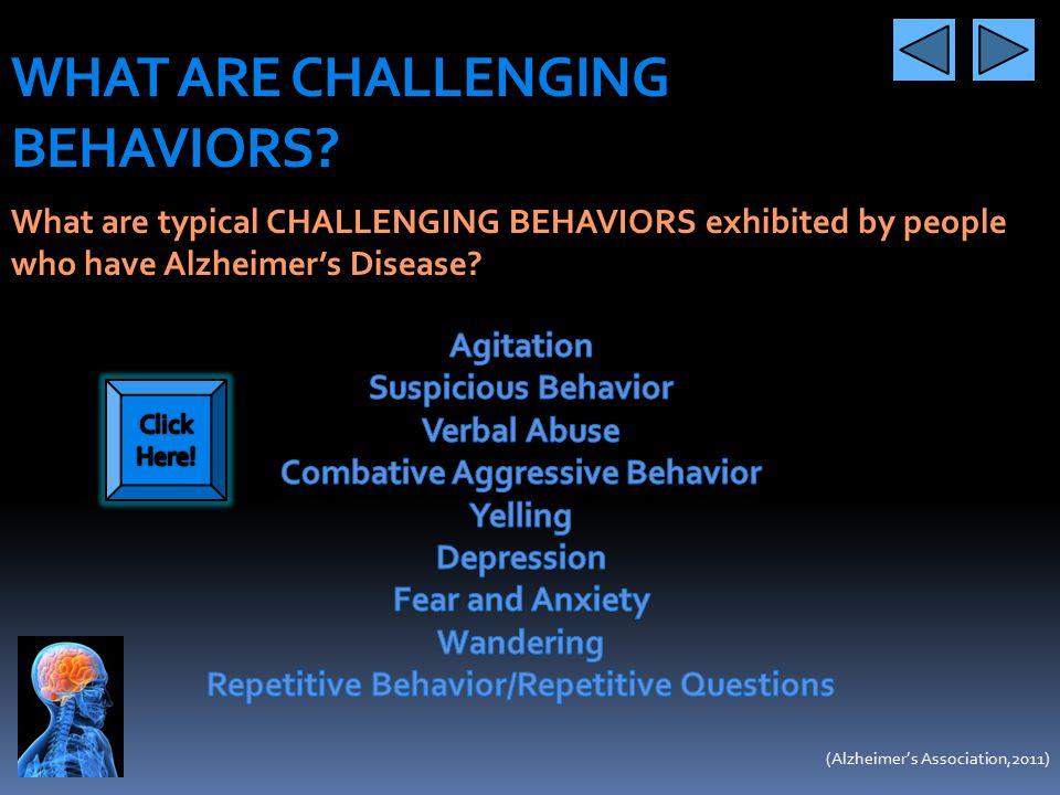 Combative Aggressive Behavior Repetitive Behavior/Repetitive Questions