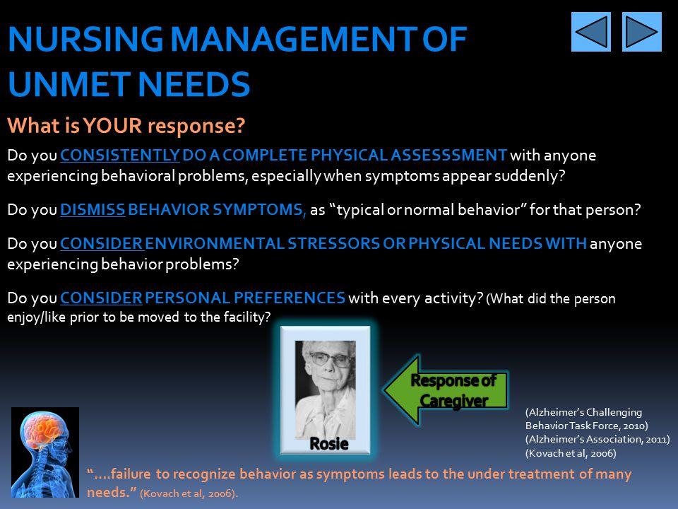 NURSING MANAGEMENT OF UNMET NEEDS