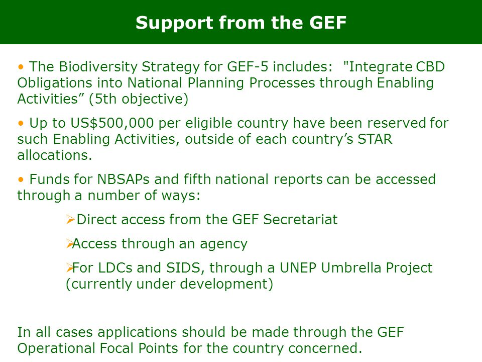 Support from the GEF