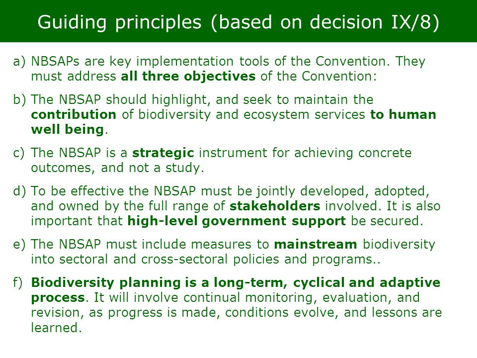 Guiding principles (based on decision IX/8)