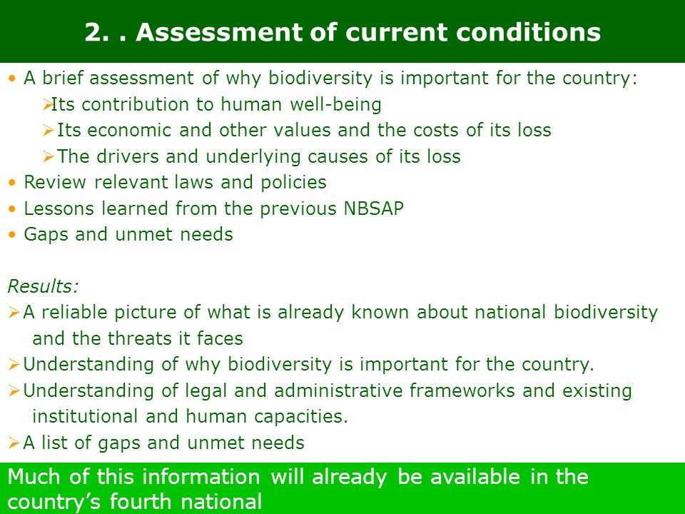 2. . Assessment of current conditions