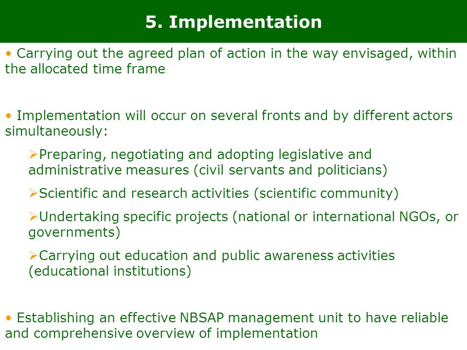 5. Implementation Carrying out the agreed plan of action in the way envisaged, within the allocated time frame.