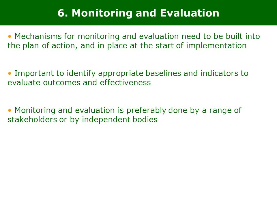6. Monitoring and Evaluation