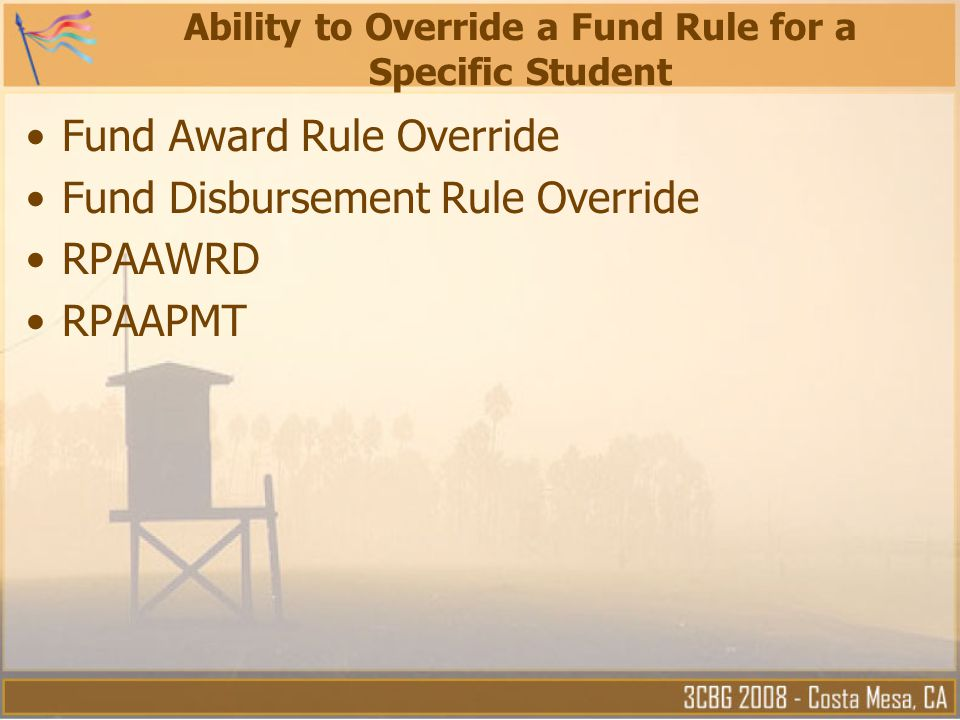 Ability to Override a Fund Rule for a Specific Student