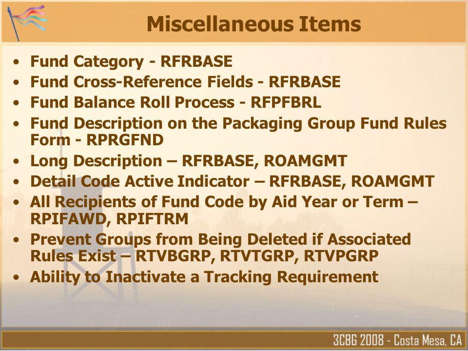 Miscellaneous Items Fund Category - RFRBASE