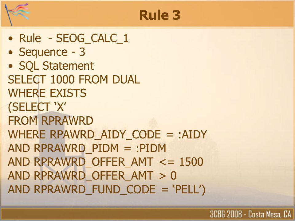Rule 3 Rule - SEOG_CALC_1 Sequence - 3 SQL Statement