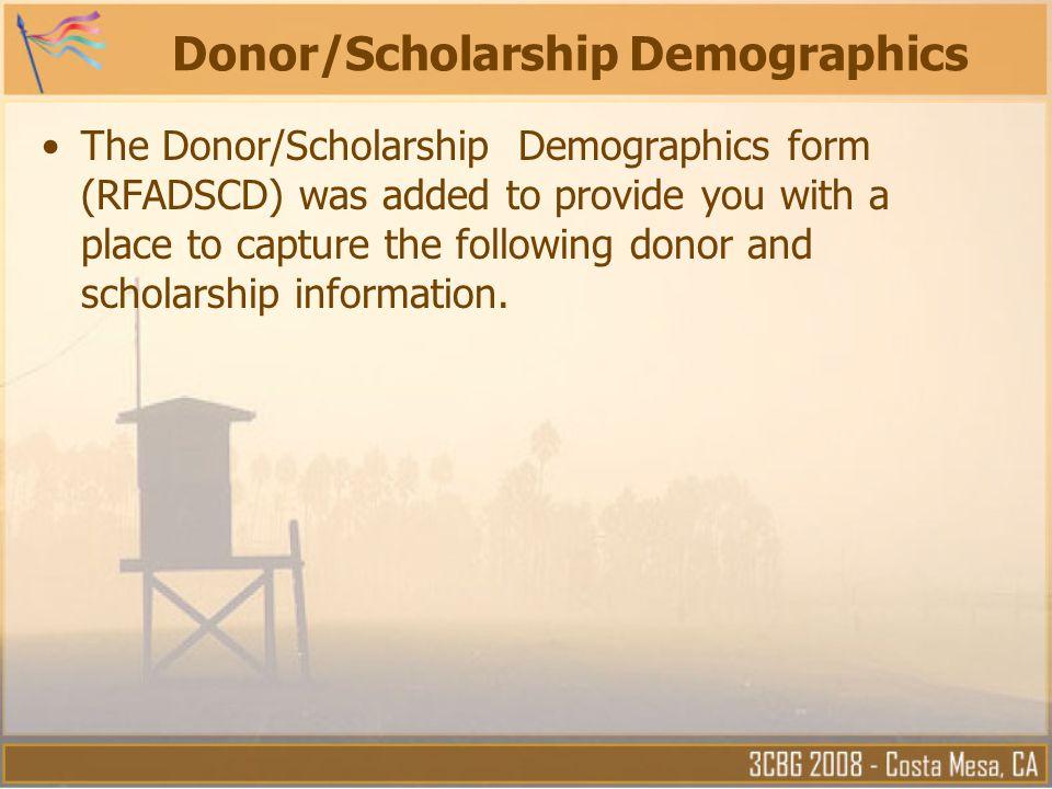 Donor/Scholarship Demographics