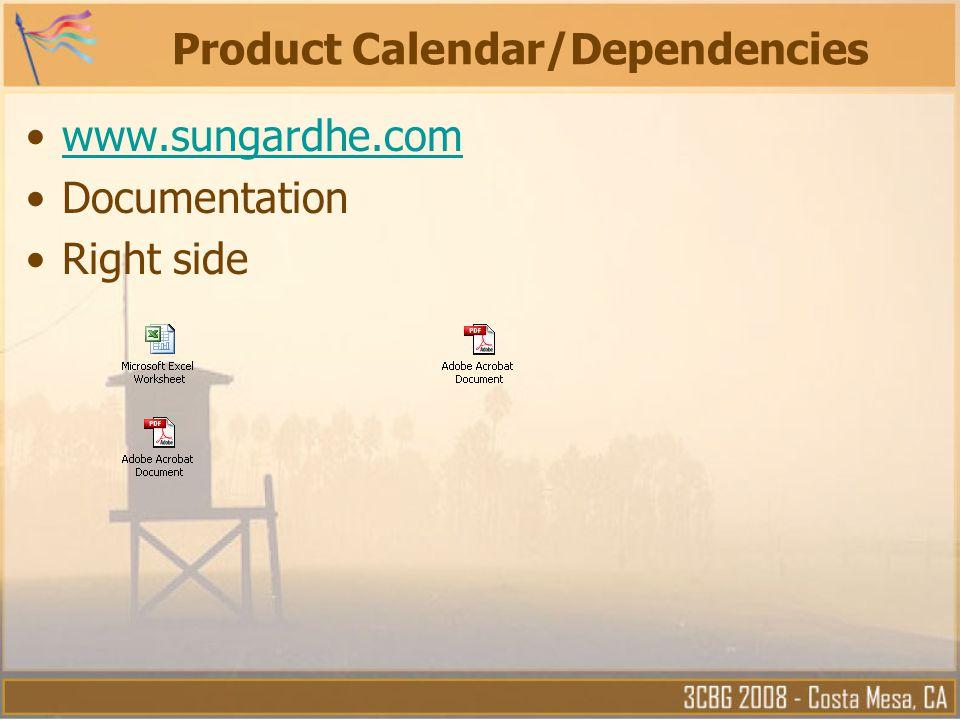Product Calendar/Dependencies