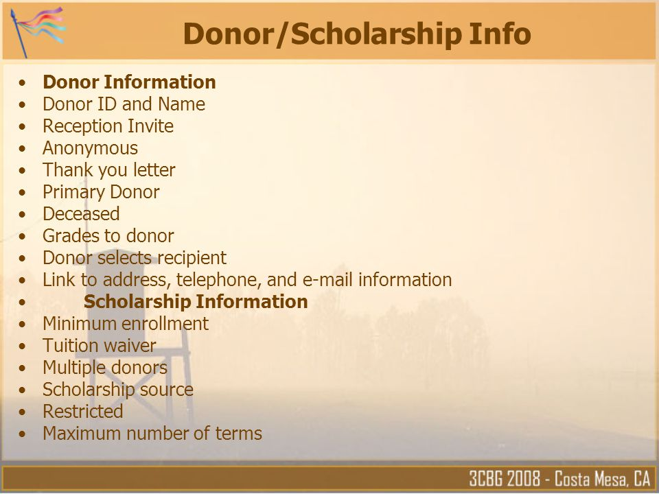 Donor/Scholarship Info
