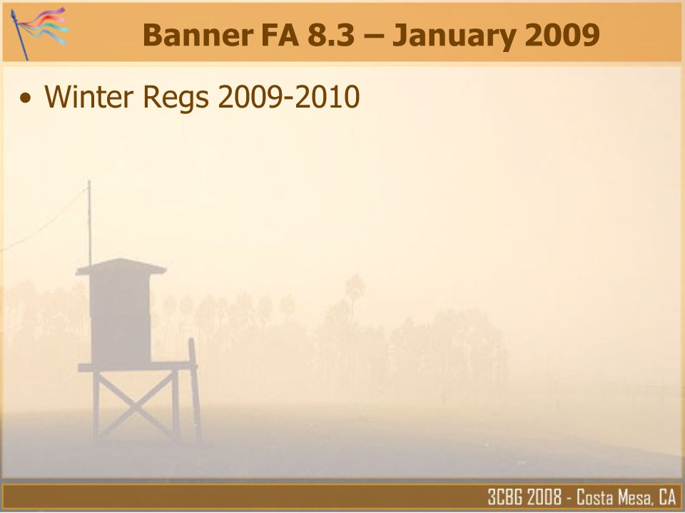 Banner FA 8.3 – January 2009 Winter Regs 2009-2010