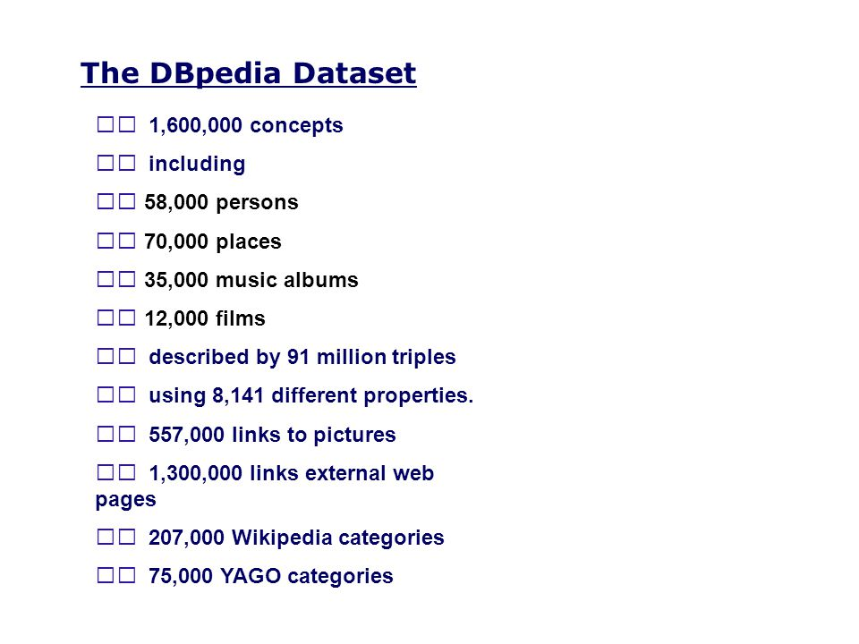 The DBpedia Dataset 􀀟 1,600,000 concepts 􀀟 including 􀁺 58,000 persons