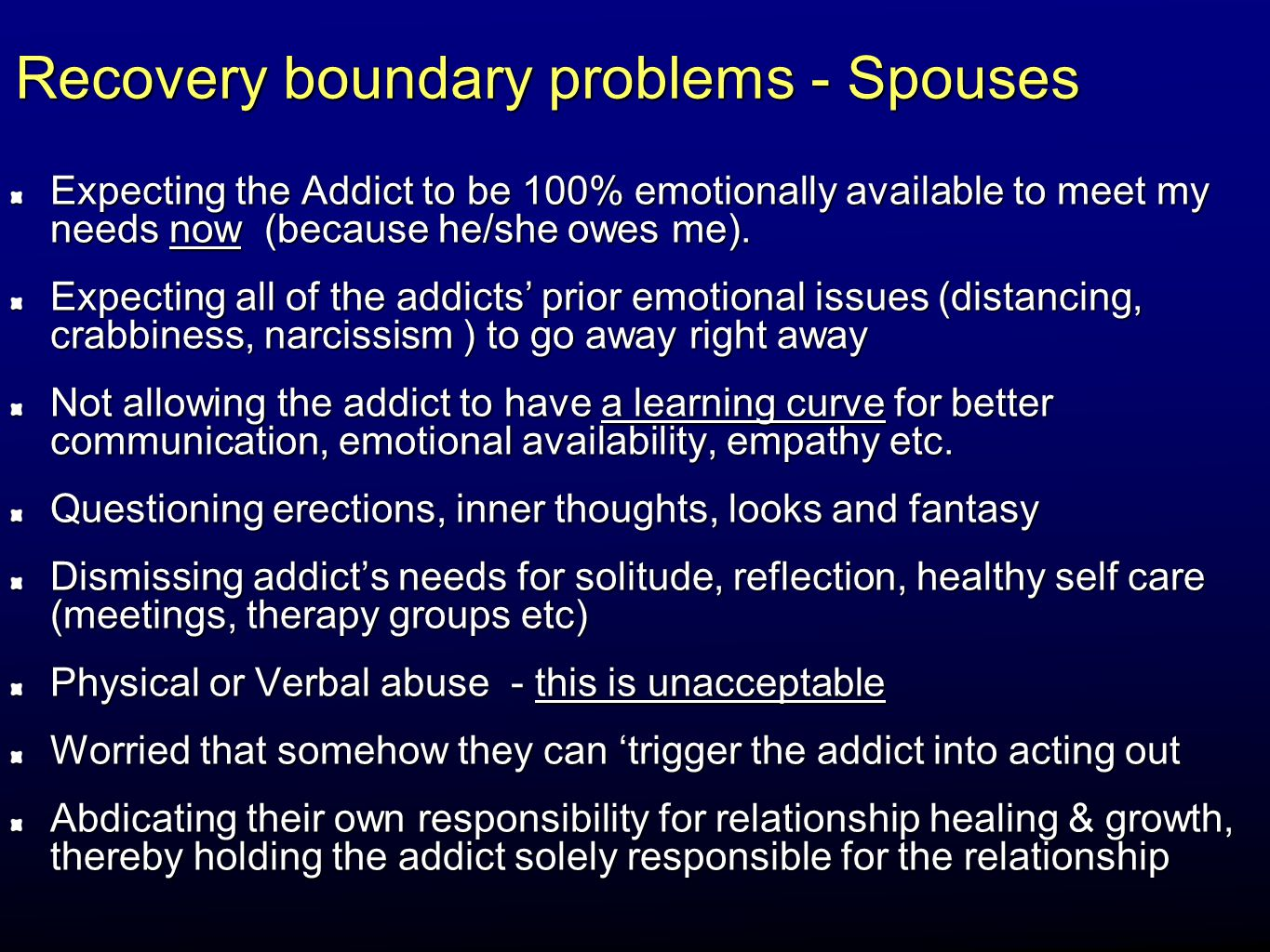 Recovery boundary problems - Spouses