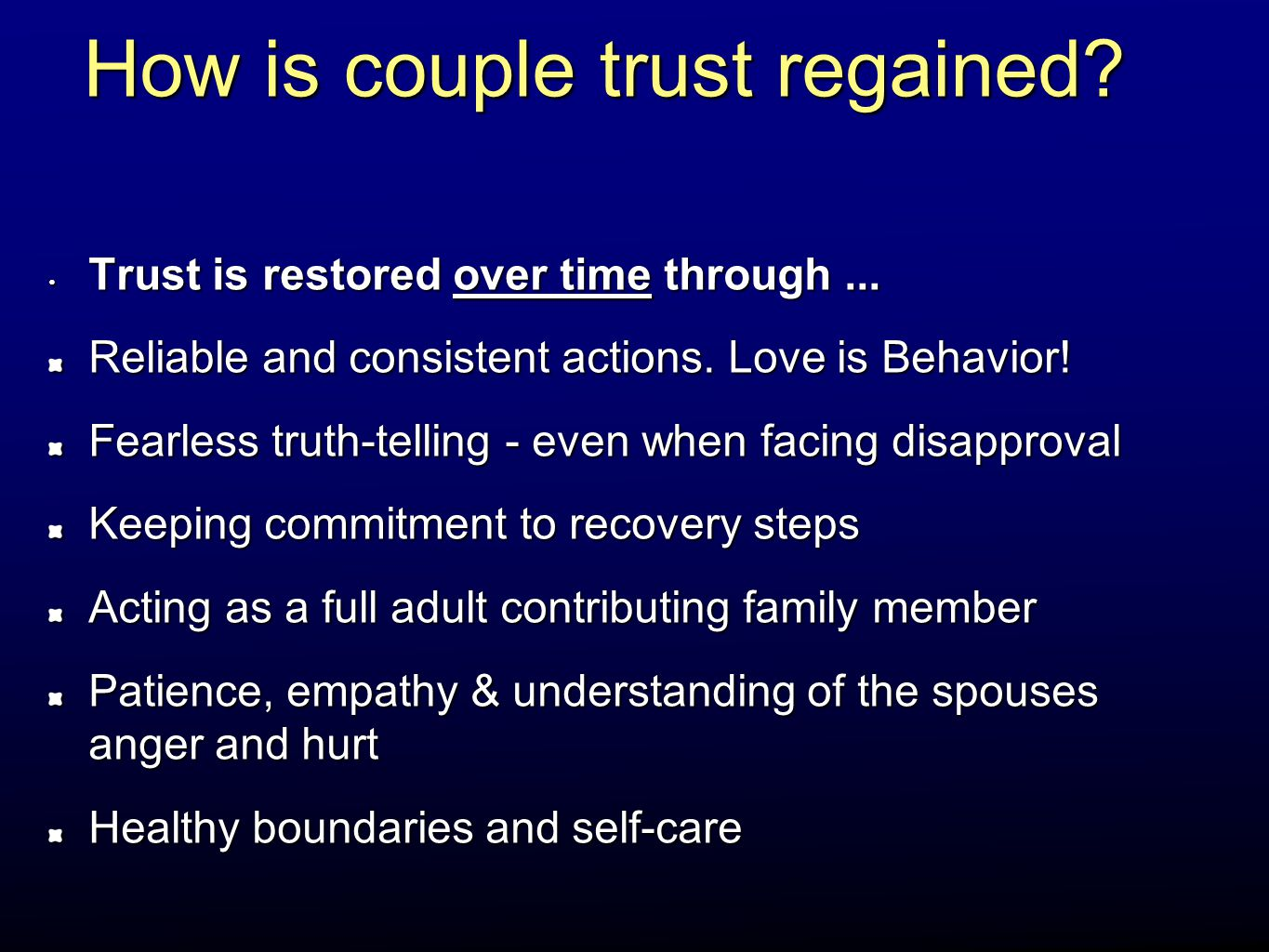 How is couple trust regained