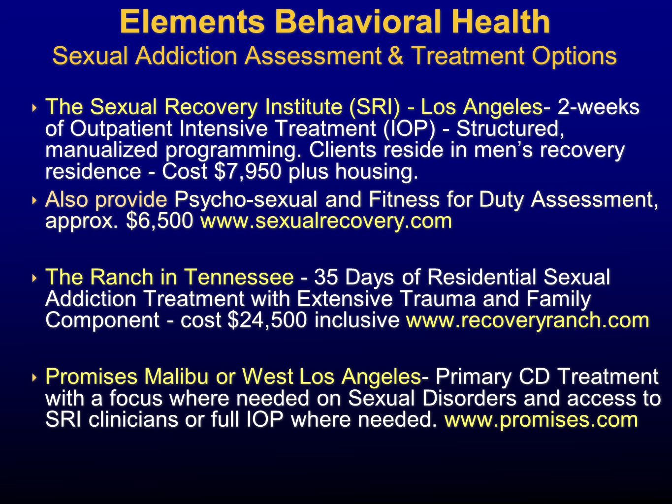 Elements Behavioral Health Sexual Addiction Assessment & Treatment Options